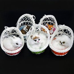 Wholesale Simulation Small Animals Ornaments Cat Fox Rabbit Basket Fur Handicrafts Kids Birthday Gifts Creative Decoration Doll