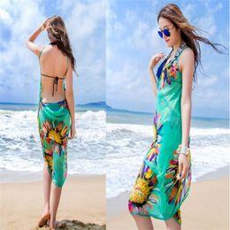 eacd23971e Sumer Women Floral Bikini Cover Ups Print Sexy Pareo Beach Dress Bohemian  Sarong Chiffon Beach Bikini Wrap Swimwear Scarf Shawl Brace 6color