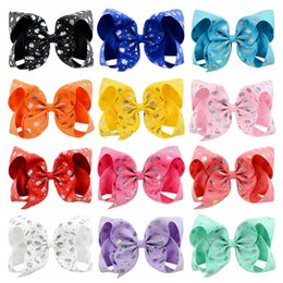 $enCountryForm.capitalKeyWord Australia - JOJO 6 Inch Girls Baby Sequin hairpin Rainbow Bows Clips 12 Colors Kids Children ribbon Bubble Bow Hair Accessory Christmas Gift H954R