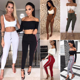 White Cotton Drawstring Pants Women Canada - 2018 Summer Trousers for Women Side Striped Pants Trousers Casual High Elastic Waist Drawstring Slim Pencil Pants