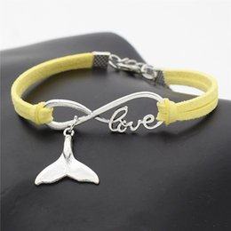 whale tail charms NZ - Hot Infinity Love Sea Animal Whale Tail Pendant Lucky Charm Bracelet & Bangles For Women Men Handmade Yellow Leather Suede Rope Jewelry Gift