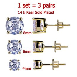 11da1dfee993 Juego de 3 pares 4-8 mm 14K chapado en oro CZ Cuadrado helado hacia arriba  Pendientes con tornillo de seguridad para hombres y mujeres