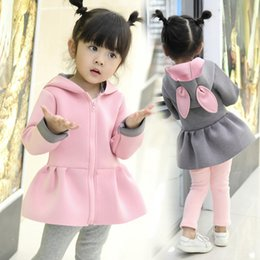 Cartoon Rabbit Hoodies Australia - Kid Baby Girl Autumn Winter t Cartoon Rabbit Ears Long Sleeve Girls Jackets Waistcoat Hoodie Coat Warm Outwear Clothes cute
