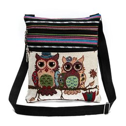 Wholesale New Children Canvas Owl Shoulder Bags Kids Cartoon Casual Messenger Bag Owl Folk custom Striped Bag Style Top Quality