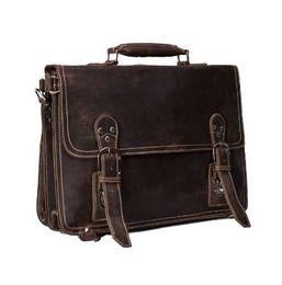 ROCKCOW Handmade Vintage Leather Briefcase 7d382656c5ca1