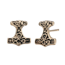 $enCountryForm.capitalKeyWord UK - 10 pairs lot Black Antique A pair Of Thor's Hammer Stud Earrings Thor Jewelry Viking Metal Piercing Accessary Male Mens Party Gifts