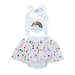 $enCountryForm.capitalKeyWord UK - TELOTUNY Fashion lovely Girl Rainbow Sequins Bowknot Dress Yarn Mini Dress Baby Girl Summer Clothes Kid customer z0721