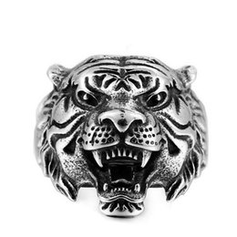 biker rings 13 2020 - Stainless Steel Titanium Tiger Head Ring 4 Colors Vintage Tiger Head Shape Animal Biker Ring 7-13 US Size Cool Animals A