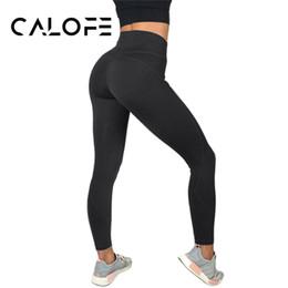 Yoga Pants Leggings Australia - CALOFE Slim Yoga Leggings Women Solid Fitness Workout Legging Elastic Ultra High Waist Pencil Pants Yoga Leggins Sports 2018