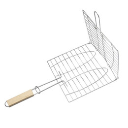 $enCountryForm.capitalKeyWord NZ - Summer Outdoor Grilled Plate Clip Grilling Basket Roast Foldable Meat Hamburger Net BBQ Tools Clips With Wooden Handle 4 45my ZZ
