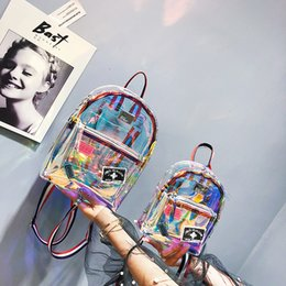 multi pocket bags 2019 - Colorful Laser Backpack Clear PC Bag Fresh Universal For Teenage Girls Outdoor Cosmetic Bags High Quality 50 NNA425 disc