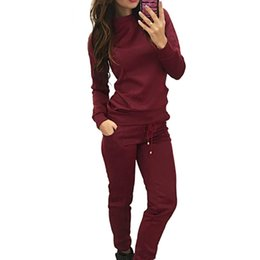 Chinese  Autumn Winter Sport Suit Women Tracksuits Wine Pullover Top Shirts Running Set Jogging Suits Sweat Pants 2pac Sportswear manufacturers