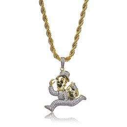 gold color combinations 2019 - Hip Hop Diamond Custom Name Combination Bubble Letter Pendant Necklace Micro Cubic Zirconia Gold Silver Color Copper Pen