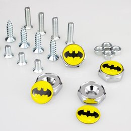 $enCountryForm.capitalKeyWord Canada - High Quality Auto Stainless steel Car License Plate Bolts Frame Chrome Screws Batman [More Logo avaialbel] Car accessories