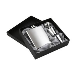 $enCountryForm.capitalKeyWord Australia - 7 OZ Stainless Steel Hip Flask Sets Jack Flagon With Funnel Cups Wine Whisky Portable Flagon Bottle Gift Box Packing