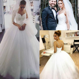 Bride corsets online shopping - Stunning Lace White Sleeveless Wedding Dresses Corset Spaghetti Straps Bride Dress Country Vestido de novia Bridal Gown Plus Size Arabic
