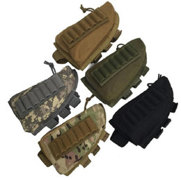 bullet shells Canada - Wholesale Tactical Bullet Stock Ammo Portable Bag Shell Cartridge Holder Pouch Holder Cheek Leather Pad Free Shipping