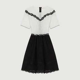 ede683544770 2018 Francia blanco negro mangas cortas cuello redondo dama de encaje  vestidos de una sola pieza mujeres se visten MBL920 Maj otoño otoño