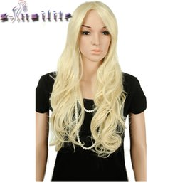 black blonde ombre hair 2019 - S-noilite Long Wavy Cosplay Red Green Puprle Pink Black Blue Sliver Gray Blonde Brown Synthetic Hair Wigs cheap black bl