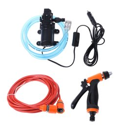 Portable Car Washing Pump UK - 12V portable 100W 160PSI self-priming electric car wash high pressure cleaner with water pump new products