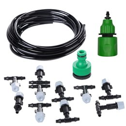 Discount atomizer cool - Plastic Water Misting Cooling System Set Garden Irrigation Sprinkler 5M Hose 10 Nozzles Lawn Orchard Atomizer Tools Acce