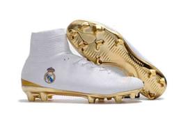 $enCountryForm.capitalKeyWord NZ - Original Real Madrid Soccer Shoes White Gold Soccer Cleats Cristiano Ronaldo Men Mercurial Superfly FG High Top Football Boots