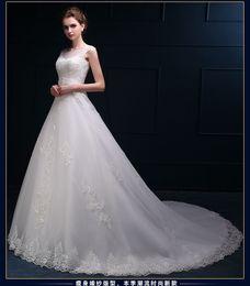 $enCountryForm.capitalKeyWord Canada - Elegant Embroidery Hollow Back Wedding Dresses See Through Bateau Neck Country Lace Appliques Bridal Dress Sweep Train Ball Gown Dress W08