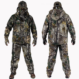 Hunting Camouflage Jacket Australia - 4 PC Winter Bionic Camouflage Hunting Suits Outdoor Tactical Hiking Clothing Jacket Pants Windbreaker Hoodie Gloves Hat