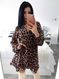 $enCountryForm.capitalKeyWord NZ - Women Dress Long Sleeve Leopard Print Sexy V Neck Party Clubwear Loose Ruffle Mini Dress Fashion Women Vestido
