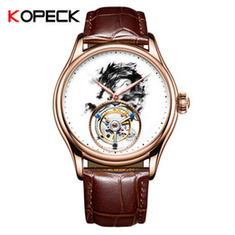 Discount water ink painting - KOPECK Ink Painting Mechanical Watch Men's Fashion Temperament Manual Dragon Luxury Watch Party Valentine's Da