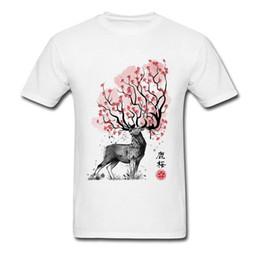 $enCountryForm.capitalKeyWord Canada - Luxury Basic T-Shirt Crew Neck Sakura Deer Spirit Picture Image 100% Cotton Men T Shirt Short Sleeve Male T-shirts Top Quality