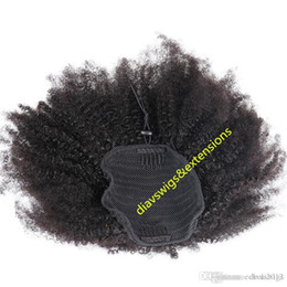 curly ponytails for black women Canada - Kinky curly ponytail for black women natural afro curly remy hair 1pcs clip in ponytails 100% human hair 10-20inch natural color