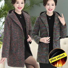 Women Velvet Clothes Australia - Middle-aged Autumn Winter Hooded Plus Velvet Woolen Coat Overcoat 2018 New Mother Clothing Medium Style Plaid Dust Coat Women Woolen Coats
