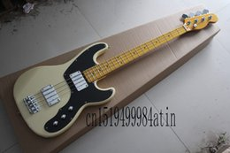 Discount electric beige - Free shipping Hot Selling Guitar Maple Fingerboard F Tele telecaster Bass Beige 4 Strings Electric bass Guitar