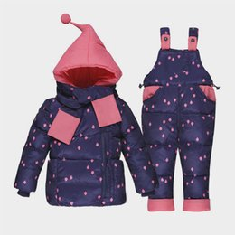 pink snow suit NZ - 2018 winter baby girls clothing sets toddler bebe girls hooded thermal thick down coat+overalls girls snow suit