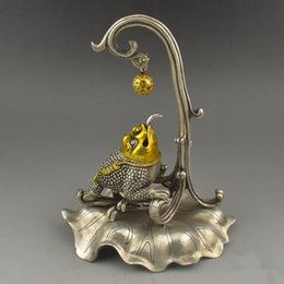 $enCountryForm.capitalKeyWord Canada - China handmade antique Tibetan silver brass Toad Take the ball Figurines Statues