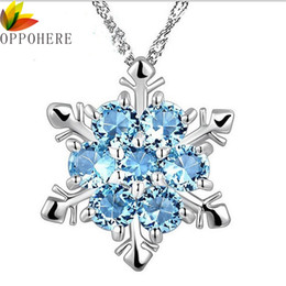 Charm Vintage lady Blue Crystal Snowflake Zircon Flower Silver Necklaces   Pendants  Jewelry for Women Free Shipping 664221a940d1