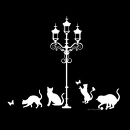 $enCountryForm.capitalKeyWord NZ - 17.3cm*14.5cm Street Light Cats Decor Vinyl Stickers Decals Car Styling Black Silver S3-6011 wholesale decals car