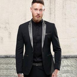 New Stylish Suit Three Piece Canada - New Stylish Design Groom Tuxedos Two Button Black Notch Lapel Groomsmen Best Man Suit Mens Wedding Suits (Jacket+Pants+Tie) 593