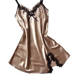 a7c731f2637 Plus Size Nightie Australia - Ladies Sexy Silk Satin Night Dress Sleeveless  Nighties V-neck