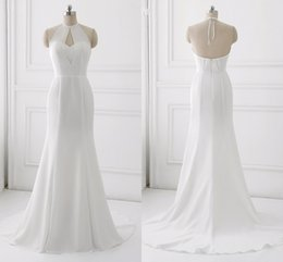 mermaid halter neck wedding dress NZ - 2018 Simple Cheap Mermaid Wedding Dress Halter Sheer Neck Open Back Chiffon Unique Neck Designer Long Bridal Gowns Plus size Real Photos