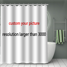Print Your Pattern Custom Bamboo Shower Curtain New Arrival Polyester Fabric Bathroom Screens