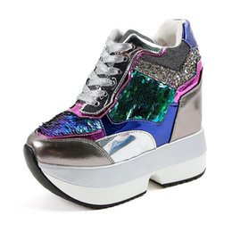 platform closed wedges 2018 - 2018 Gold Silver Glitter Women Sneakers Casual Lace Up High Quality Wedge Heels Female Shoes Increase Height 13cm Platfo