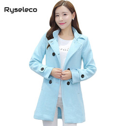 Barato Casaco De Lã Para Meninas-Wholesale-Ryseleco Girls Winter Fashion Sweet Double Breasted Regular Casual Wool Blends Coats Mulheres Slim Brief Pure Color Warm Jackets