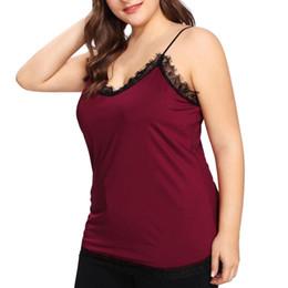 bcadb0d3b2747f Fashion Women crop top Casual deep V-Neck Sleeveless Plus Size 5xl Solid  Lace Tank Tops hot girl Vest Camis Colete Feminino