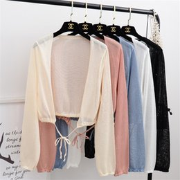 Summer Autumn Women Thin Cardigans Long Sleeve Ice Silk Knitted Small Shawl Sweaters Coat Female Elegant Short Cardigan SF1243