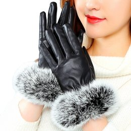 Leather Wrist Gloves Australia - 200PAIRS   LOT Fashion Women Outdoor Gloves Winter Driving Windproof Warm Rabbit Fur Gloves Solid Color Wrist Mittens