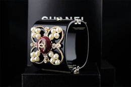 Halloween ceramic skull online shopping - High Design Letter Bracelet Woman s Crystal Bracelet Cuff Clear Crystal Pearl Punk Retro Skull Bracelet With Box