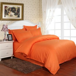 $enCountryForm.capitalKeyWord Canada - 100% Cotton Satin Stripes Bedding Set 3 4pcs Hotel Duvet Cover Set Orange Solid Color Bed Sheet Twin Full Queen King Size