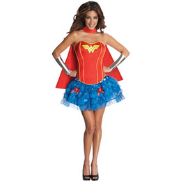 Discount costume wonder woman Female Super Hero Uniform Fancy Dress with Cloak Off Shoulder American Anime Hero Wonder Woman Cosplay Costume For Carni